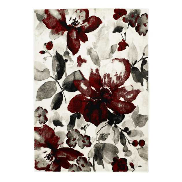 Watercolour Floral Rugs in Red