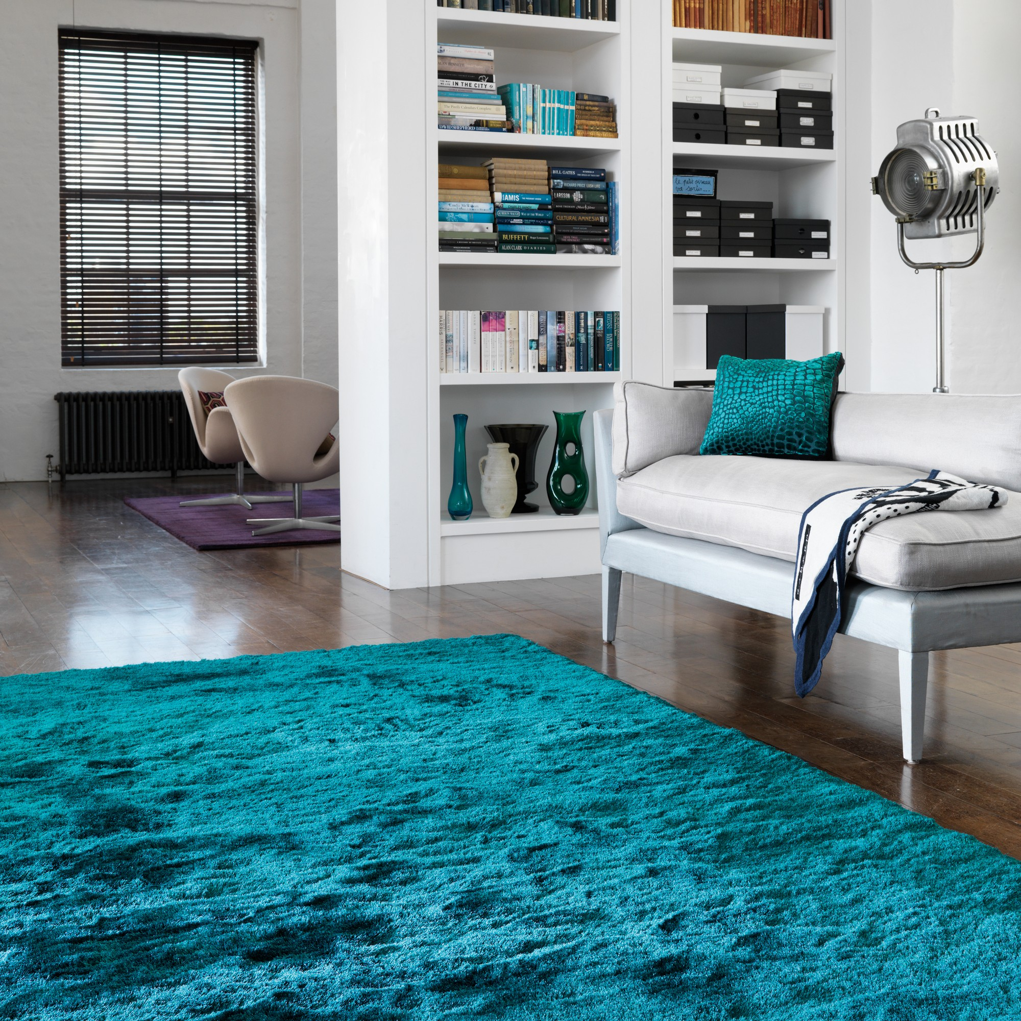 Whisper Shiney Shaggy Rugs In Dark Teal Free Uk Delivery