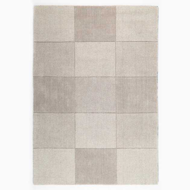 Wool Squares Rugs in Beige