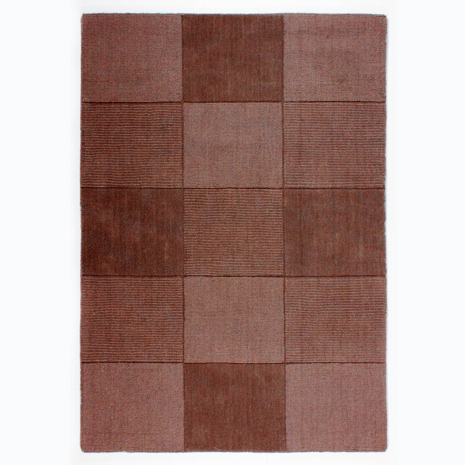 Wool Squares Rugs in Chocolate