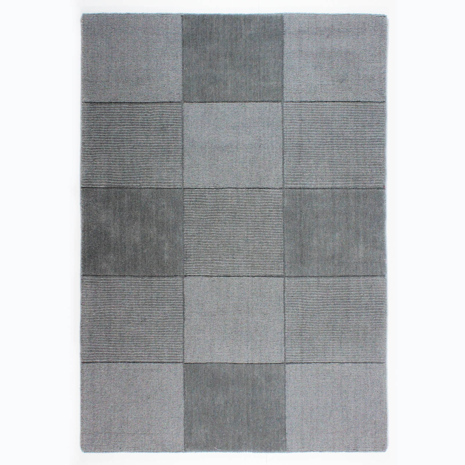 Wool Squares Rugs in Light Grey