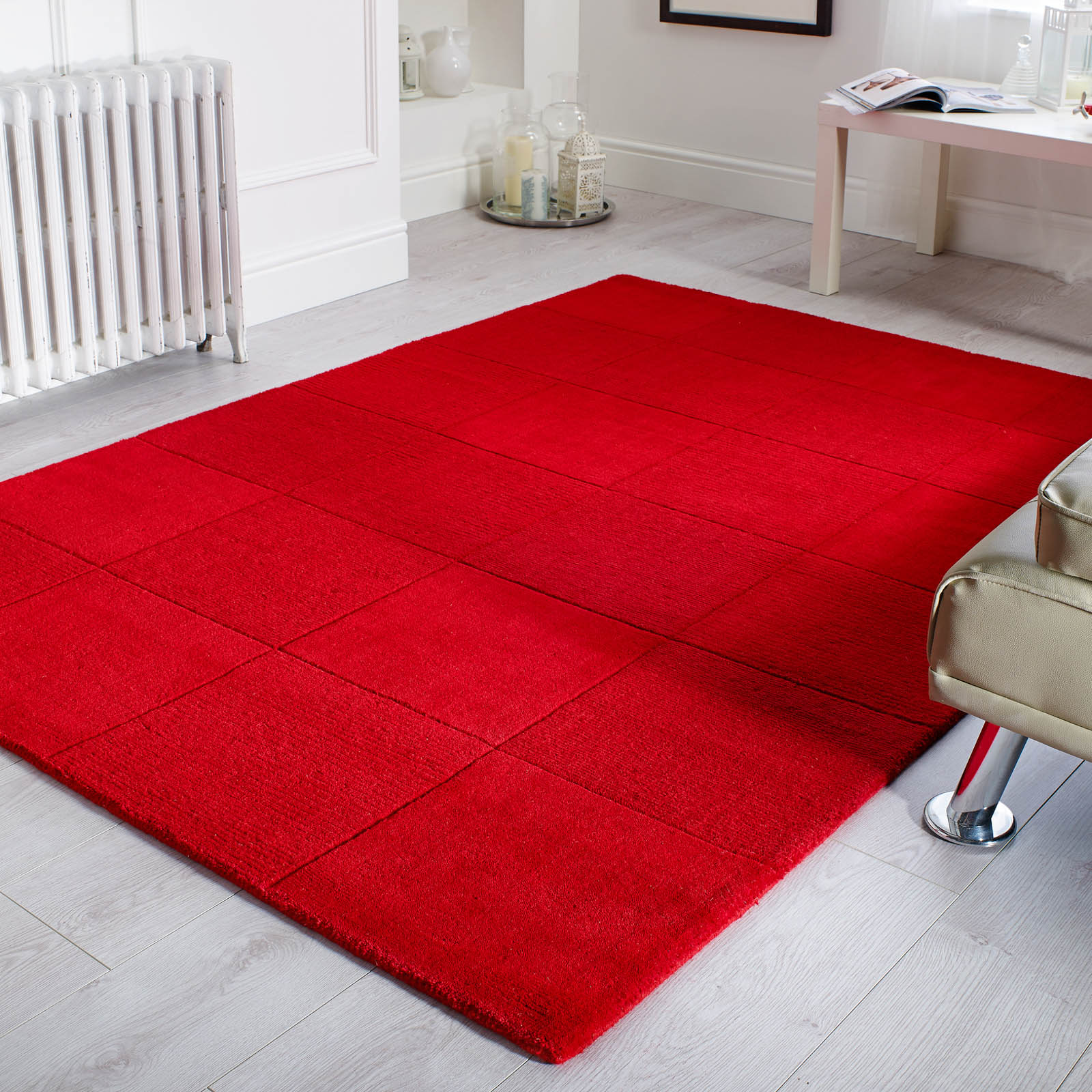 Wool Squares Rugs in Red