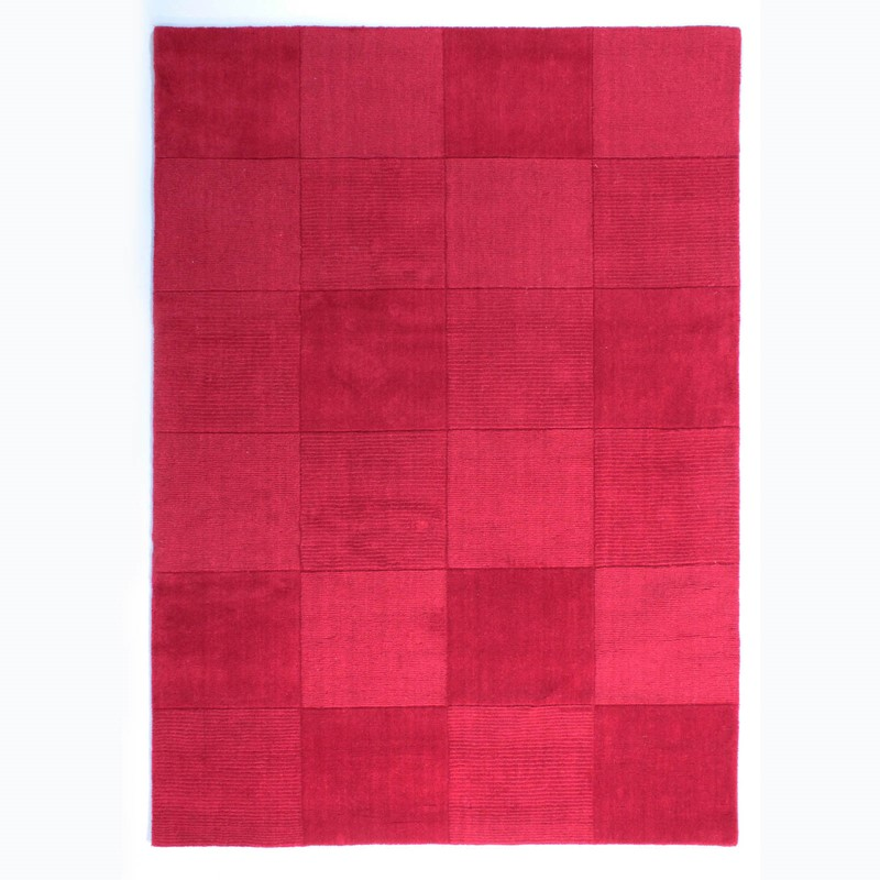 Wool Squares Rugs in Red buy online from the rug seller uk