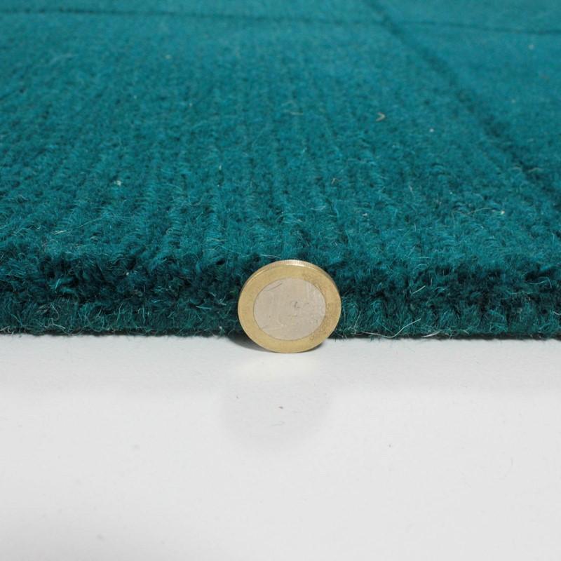 Wool Squares Rugs in Teal buy online from the rug seller uk