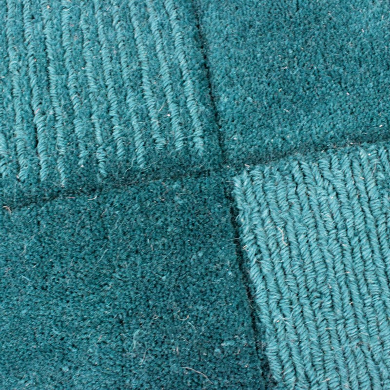 Wool Squares Rugs In Teal Buy Online From The Rug Seller Uk