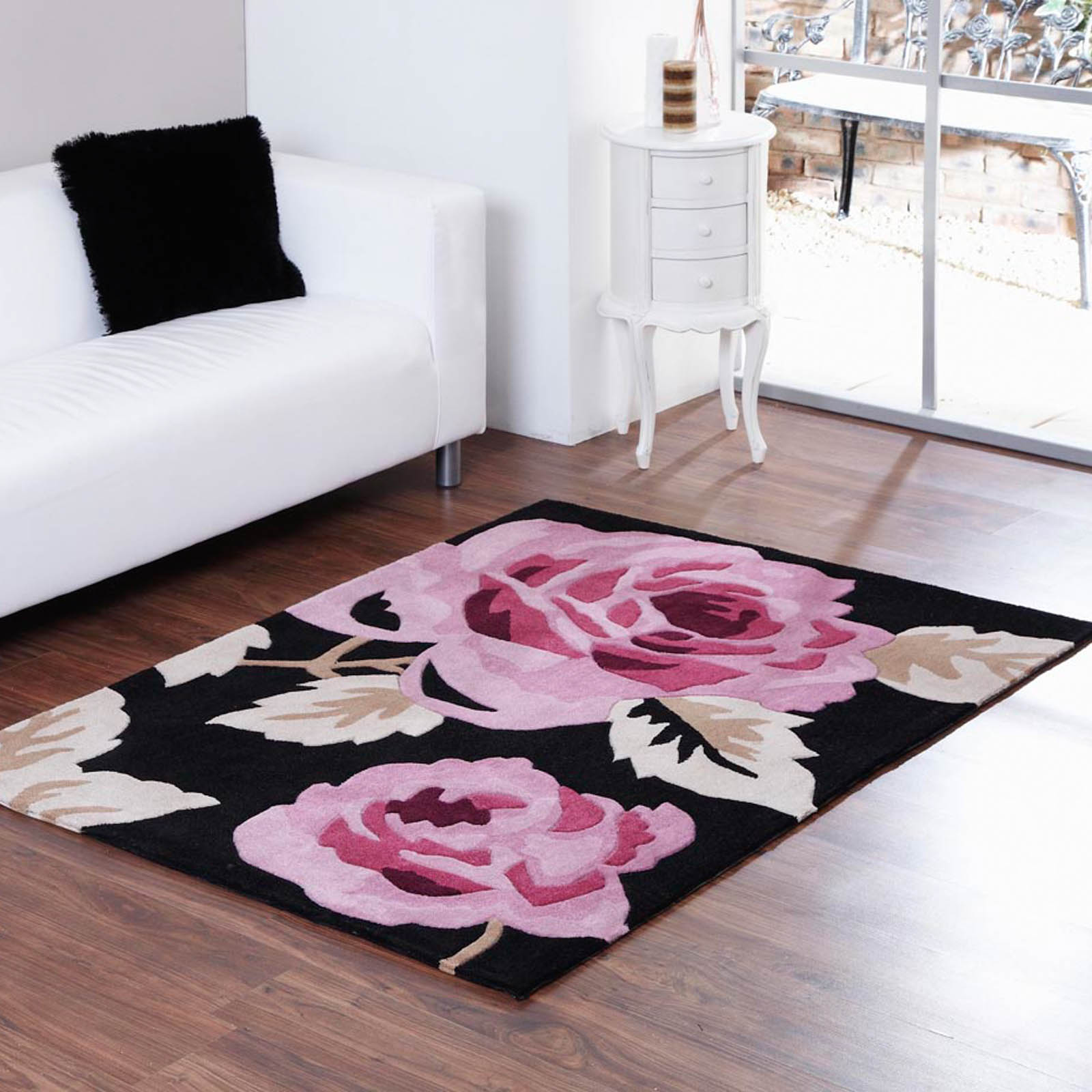 Aspire Zaire Rugs in Black Pink