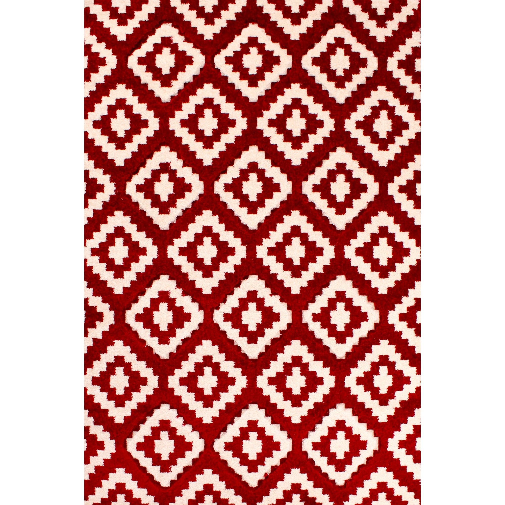 Rapello Zircon Rug in Red and White