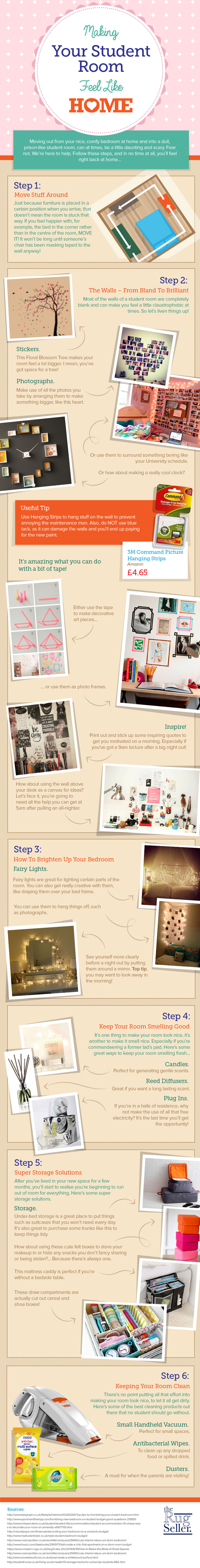 22 Great Tips to Make your Student Room a Home Infographic